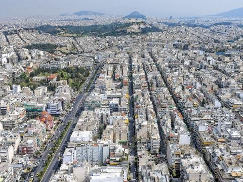 Αεροφωτογραφία πόλης. Καλλιθέα.