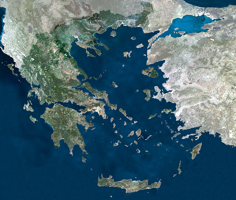 Satellite Map Of Greece By E S A
