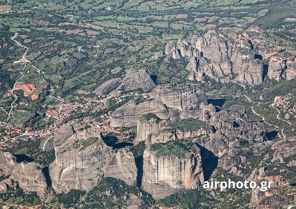 Meteora sandstone rock cliffs and monasteries, Kalambaka